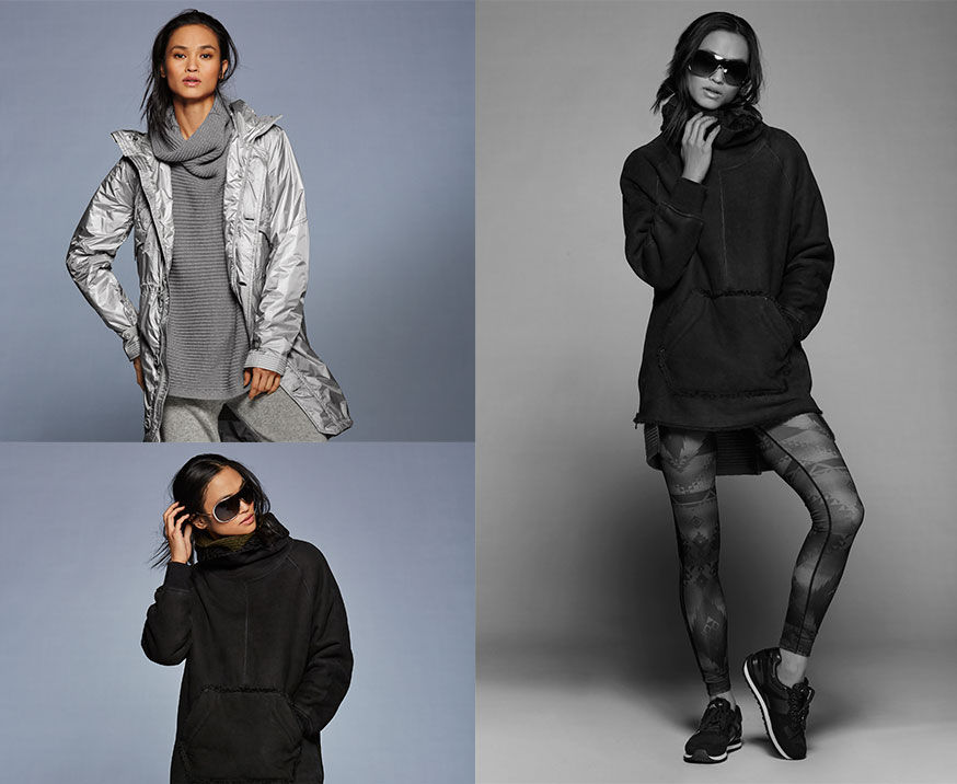 Left-top: Woman wears silver hooded jacket layered over grey cowlneck sweater. Left-bottom: Woman models silver-toned sungalsses & black oversized hoodie. Right: Black-and-white photo of woman in sunglasses, hoodie, geometric-print leggings & sneakers.
