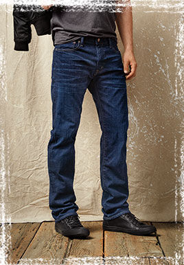 Dark-wash straight-fit jean