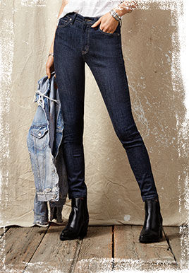 Dark-wash high-rise jean