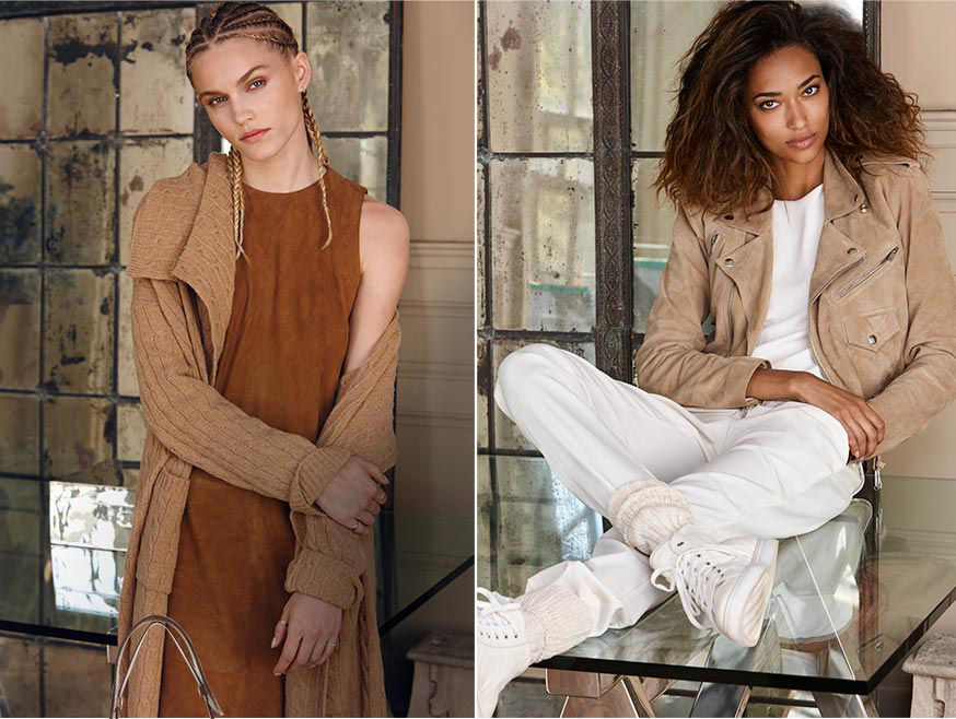 Left-Woman with braided hair wears long cable-knit cardigan over brown suede sheath dress. Right-Woman sitting on glass-top table layers tan suede moto jacket over white top, jogger pant & sneakers.