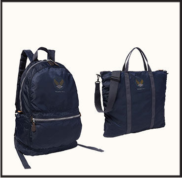 Navy nylon backpack & navy nylon tote