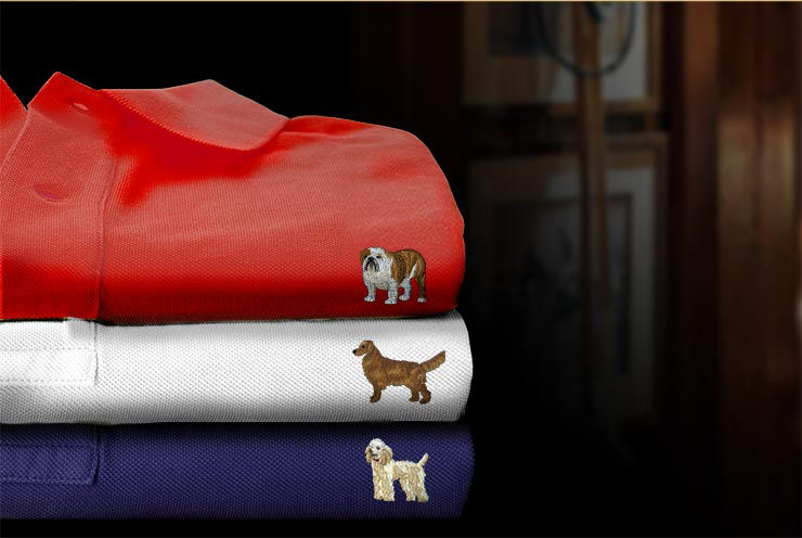 Stack of Polo shirts embroidered with various dog breeds