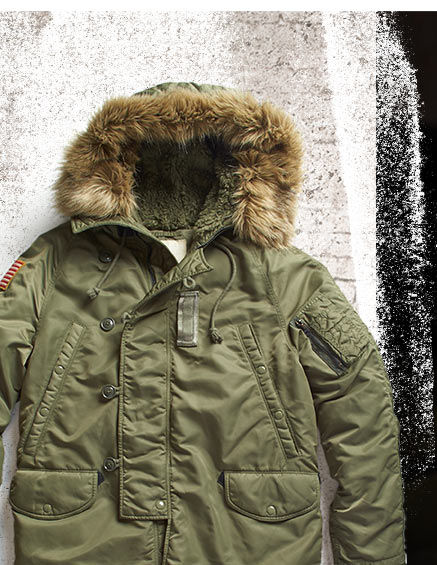 Green parka with faux-fur-trimmed hood