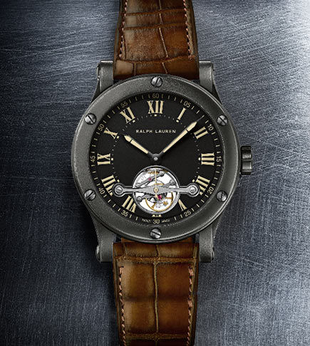 Timepiece with gunmetal-colored steel case, matte black dial & alligator strap