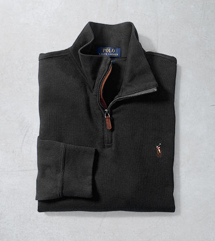 Black half-zip sweater with signature Polo Pony at chest